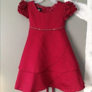 Biscotti red formal beaded satin dress 2T